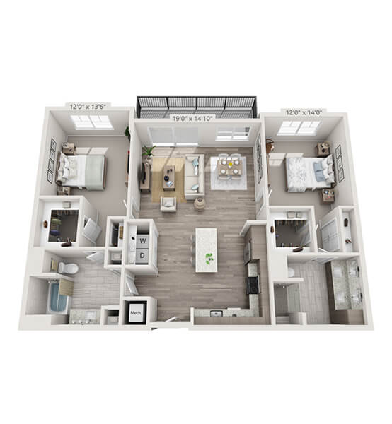 Interlude 2 Bedroom Apartment Floor Plan